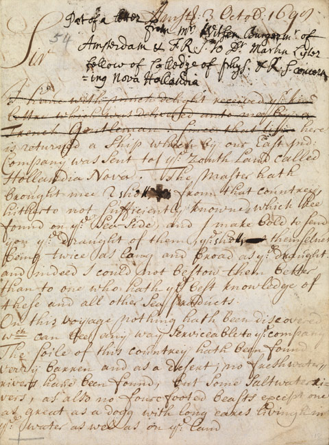 Letter from Nicolaas Witsen to Dr Martin Lystor [Lister], 3 October 1698. - click to view larger image