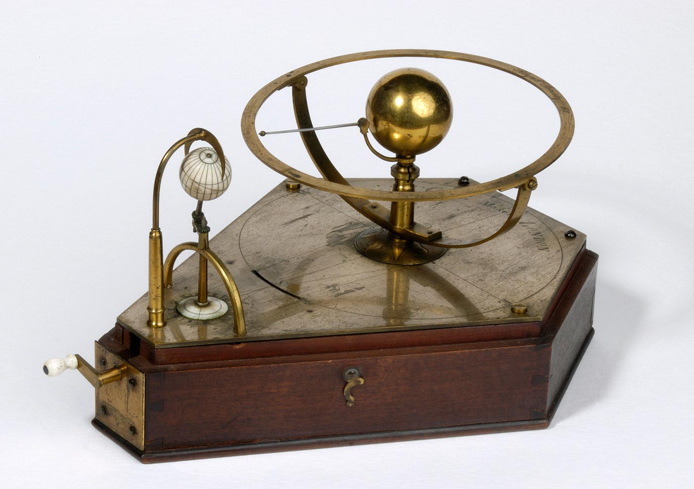 Orrery (mechanical planetarium) demonstrating the transit of Venus, about 1760, made by Benjamin Cole, London.