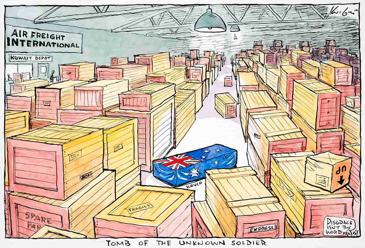 Cartoon of a Kuwait international air freight depot containing hundreds of packing crates. In the middle of it all is a rectangular shaped box draped in the Australian flag - click to view larger image