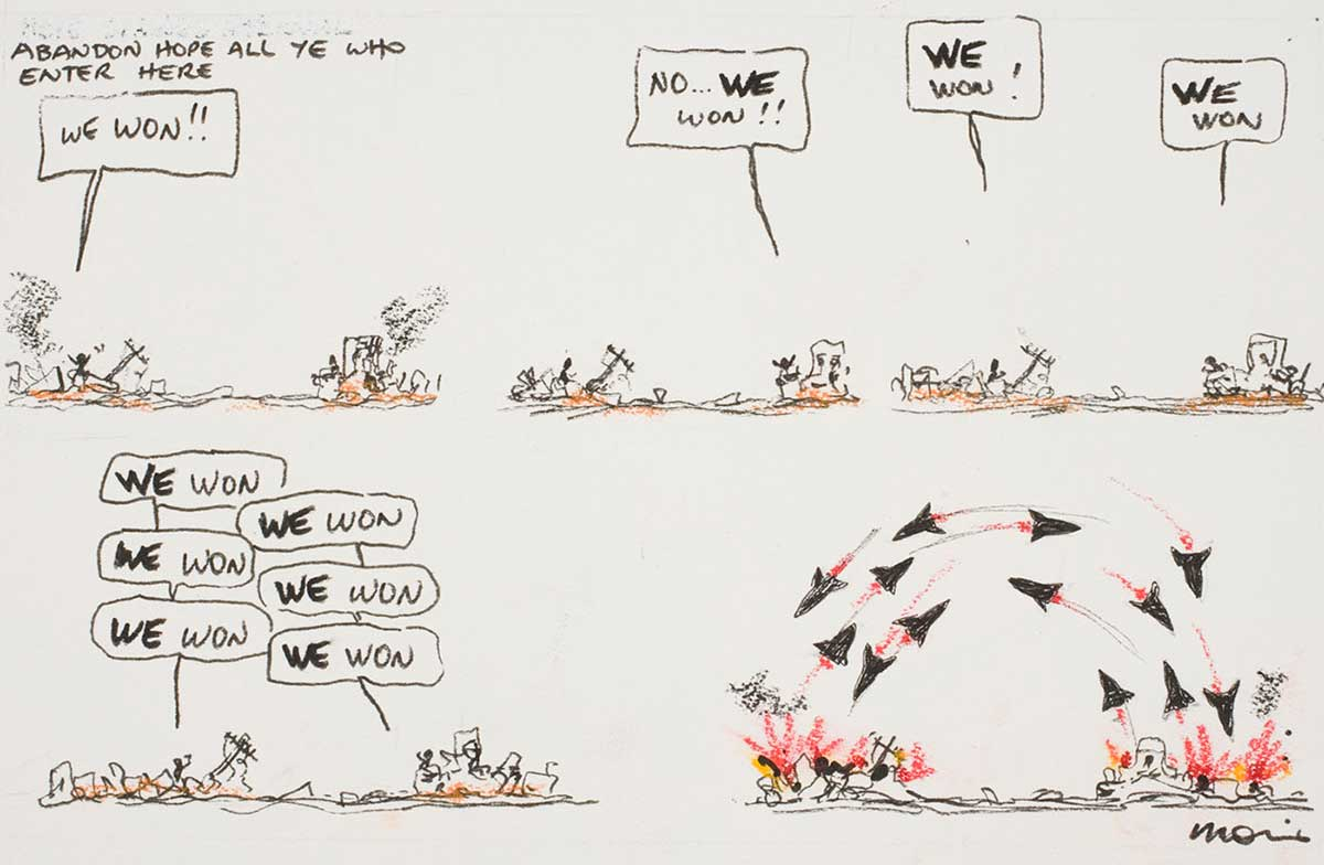 Cartoon showing a war between two sides who both think they have won - click to view larger image