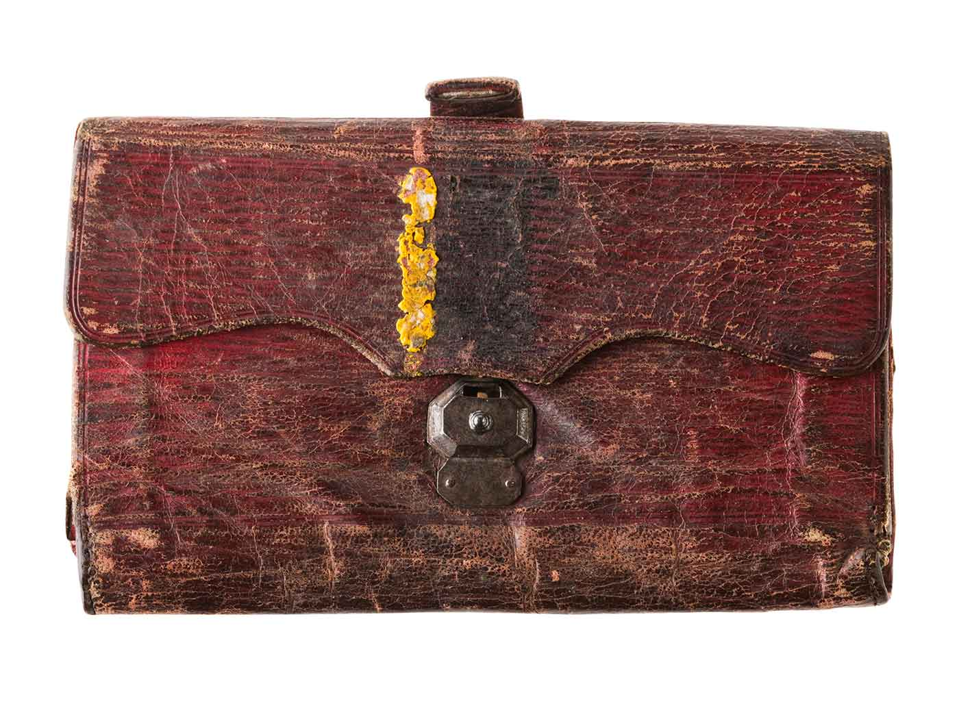 Old weathered burgundy-coloured leather wallet - click to view larger image