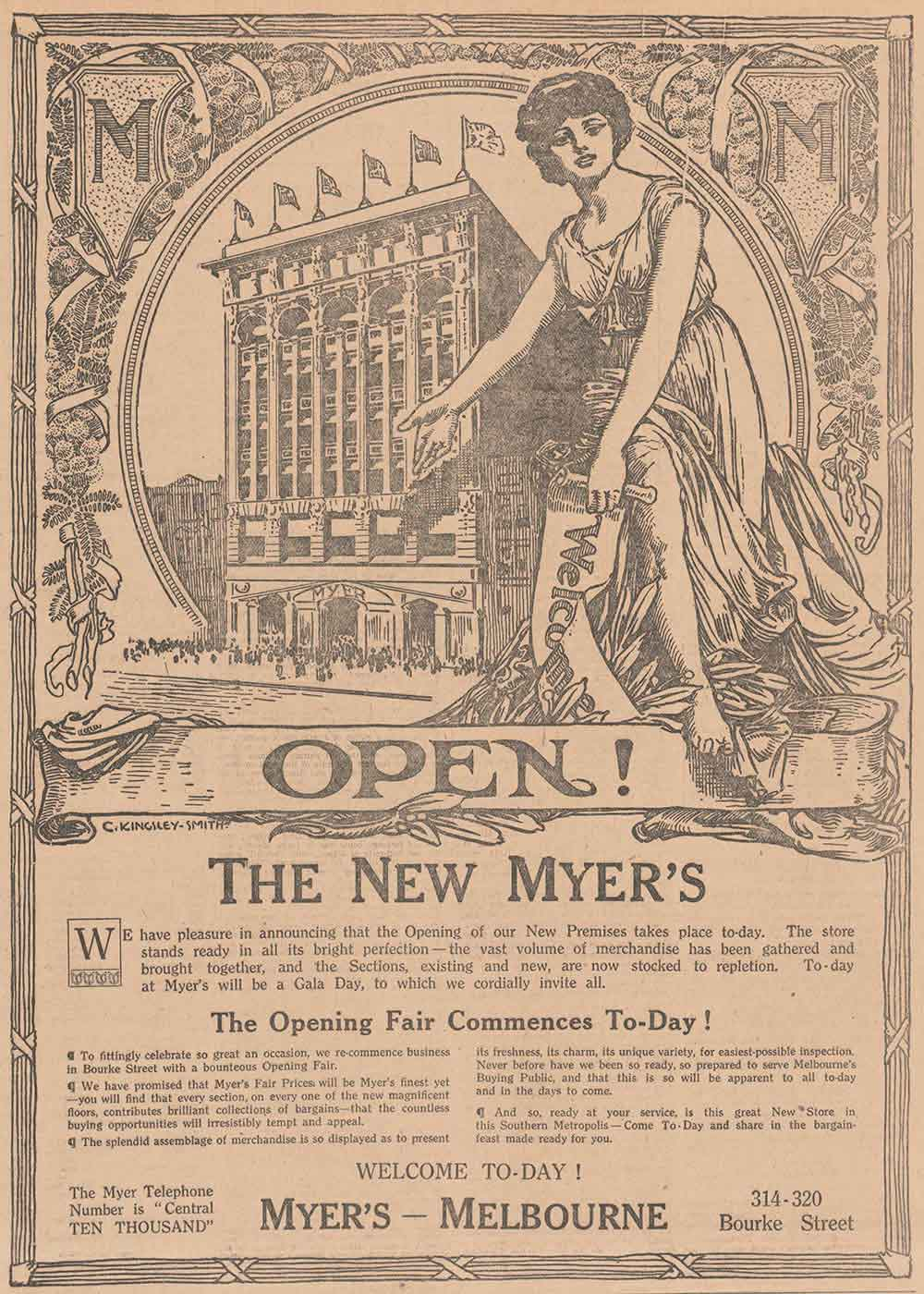 Ad for the opening of a store featuring the text 'OPEN! THE NEW MYER'S'. - click to view larger image