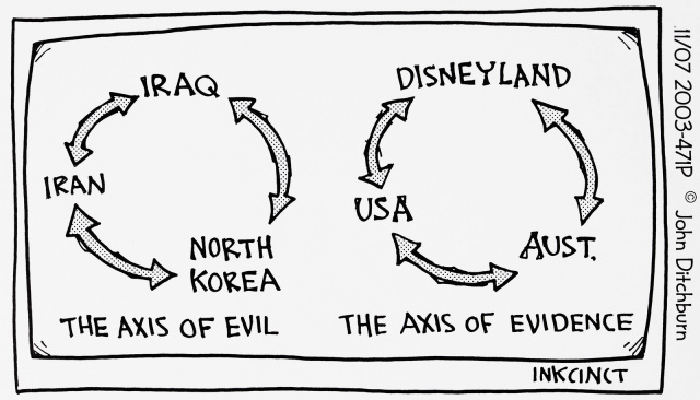 This cartoon contains two diagrams, both with arrows linking three test groups in a circle. The first, labelled 'The Axis of Evil' has the words 'Iraq', 'Iran', and 'North Korea'. The second, labelled 'The Axis of Evidence', with the words 'Aust.', 'USA', and 'Disneyland'. - click to view larger image