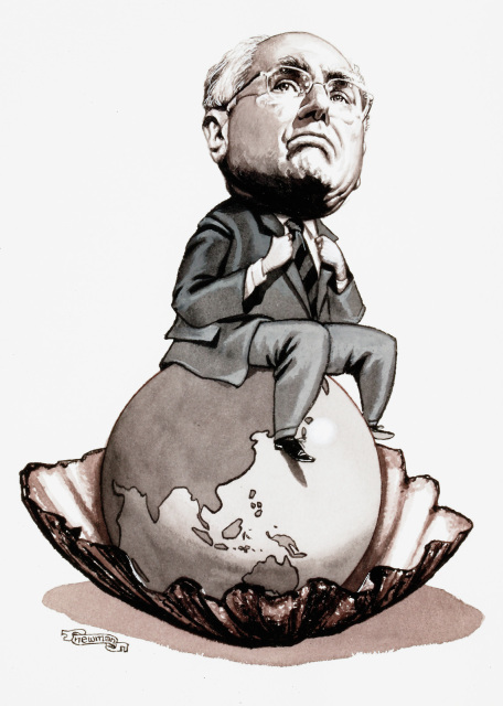 John Howard sitting on a giant pearl resembling the Earth.  - click to view larger image