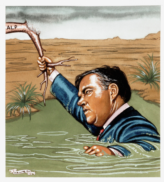 A cartoon of Kim Beazley up to his chest in quicksand. He is holding on to a branch labelled 'ALP' which is broken most of the way though. - click to view larger image