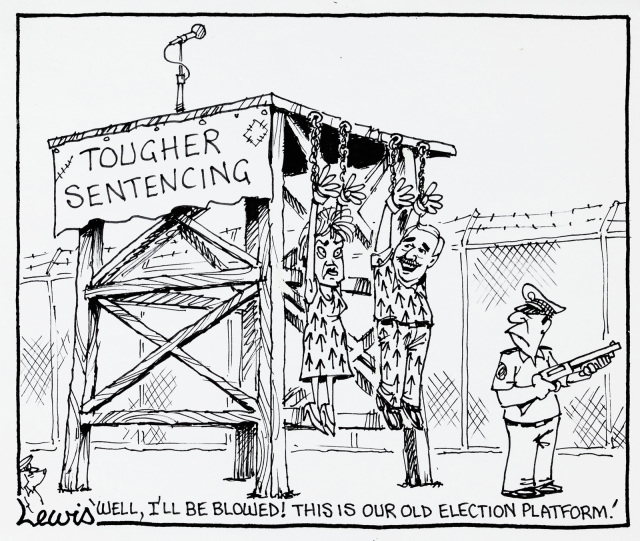 A cartoon of Pauline Hanson and David Ettridge wearing prison garb covered in arrows. They are handing by their hands from a wooden platform. The platform bears a sign reading 'Tougher sentencing'. David says 'Well, I'll be blowed! This is our old election platform!' - click to view larger image