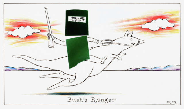 A cartoon titled 'Bush's Ranger' featuring a figure wearing Ned Kelly style armour, holding rifle, and riding a kangaroo.  - click to view larger image