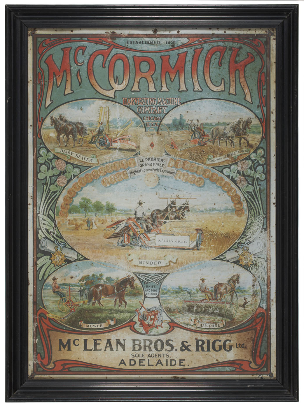 A tin sign painted with a central image of a piece of farm machinery being drawn behind two horses. Four smaller images show other horsedrawn farming equipment. Text reads 'McCormick Harvesting Machine Company, Chicago, USA' - click to view larger image