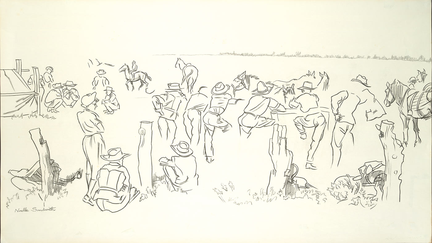 A sketch of spectators at a horse race.