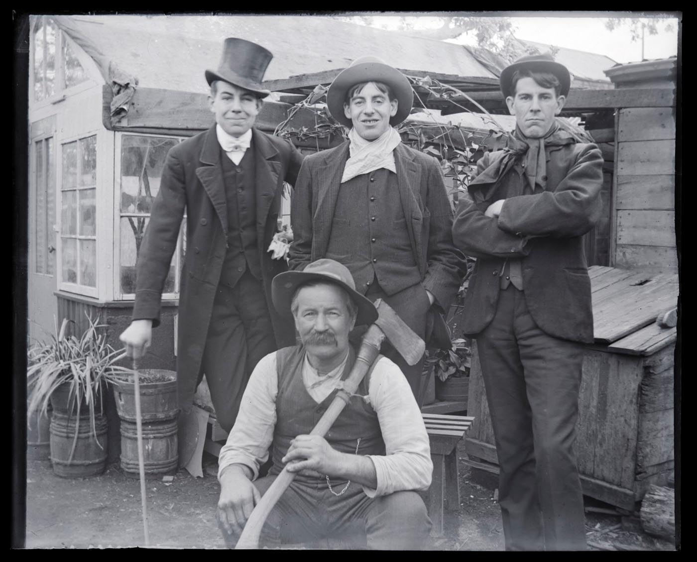 A black and white photo of Monbulk district farmers and bullockies Walter A'Vard and his sons. - click to view larger image