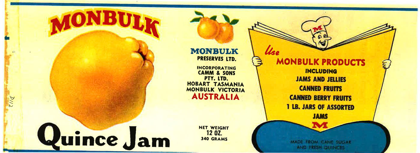 Label for Monbulk Quince Jam. - click to view larger image