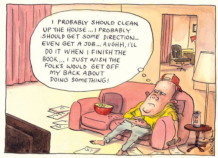 Peter Costello slumps on a couch in a lounge room. He wears a backwards baseball cap, yellow shirt and loose pants that reveal the waistband of his underwear. He holds a TV remote in his left hand. On the floor are scattered sheets of paper. The corner of a TV is in the bottom left corner of the image. A bowl of snack food sits on the couch. A doorway in the background shows another room. Mr Costello's expression conveys boredom and inertia.     As Peter Costello slouches on the couch, he thinks 'I probably should clean up the house...I probably should get some direction...even get a job...aughh (sic), I'll do it when I finish the book...I just wish the folks would get off my back about doing something!'   - click to view larger image