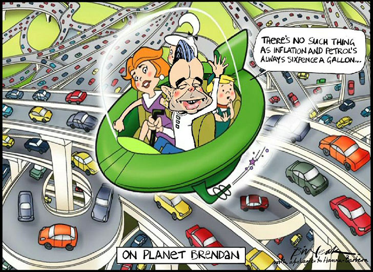 Colour cartoon in the style of the Jetsons. It shows Brendan Nelson piloting a green spaceship, with Jane, Judy and Elroy on board. They are flying above numerous cars on a tangle of roads below. Nelson says 'There's no such thing as inflation and petrol's always sixpence a gallon...'. Cartoonist Bill Leak signs the cartoon 'with apologies to Hanna-Barbera'. - click to view larger image
