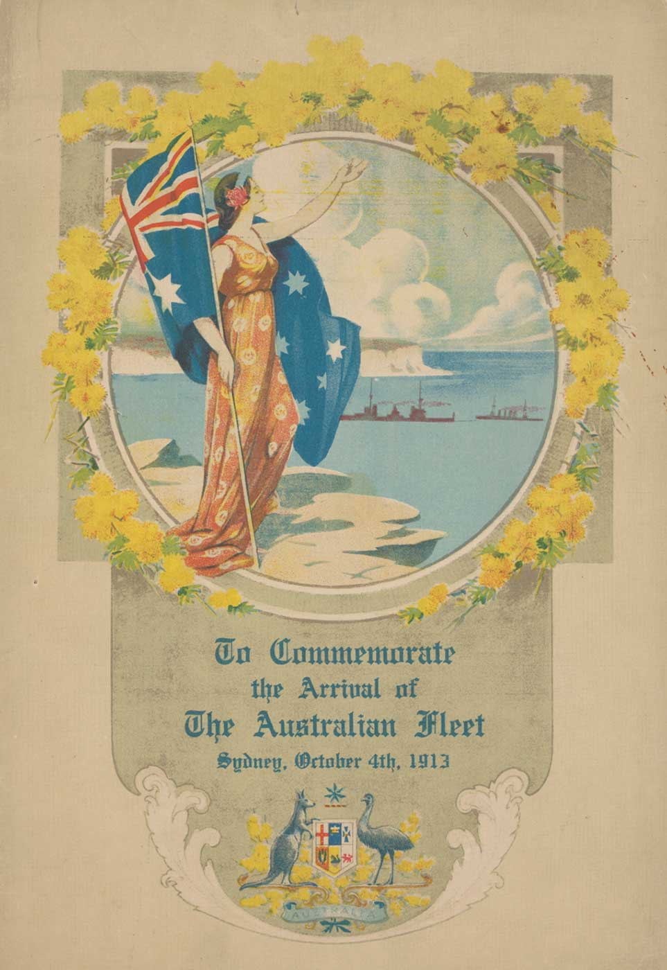 Cover of the souvenir program for the arrival of the fleet, 1913. - click to view larger image