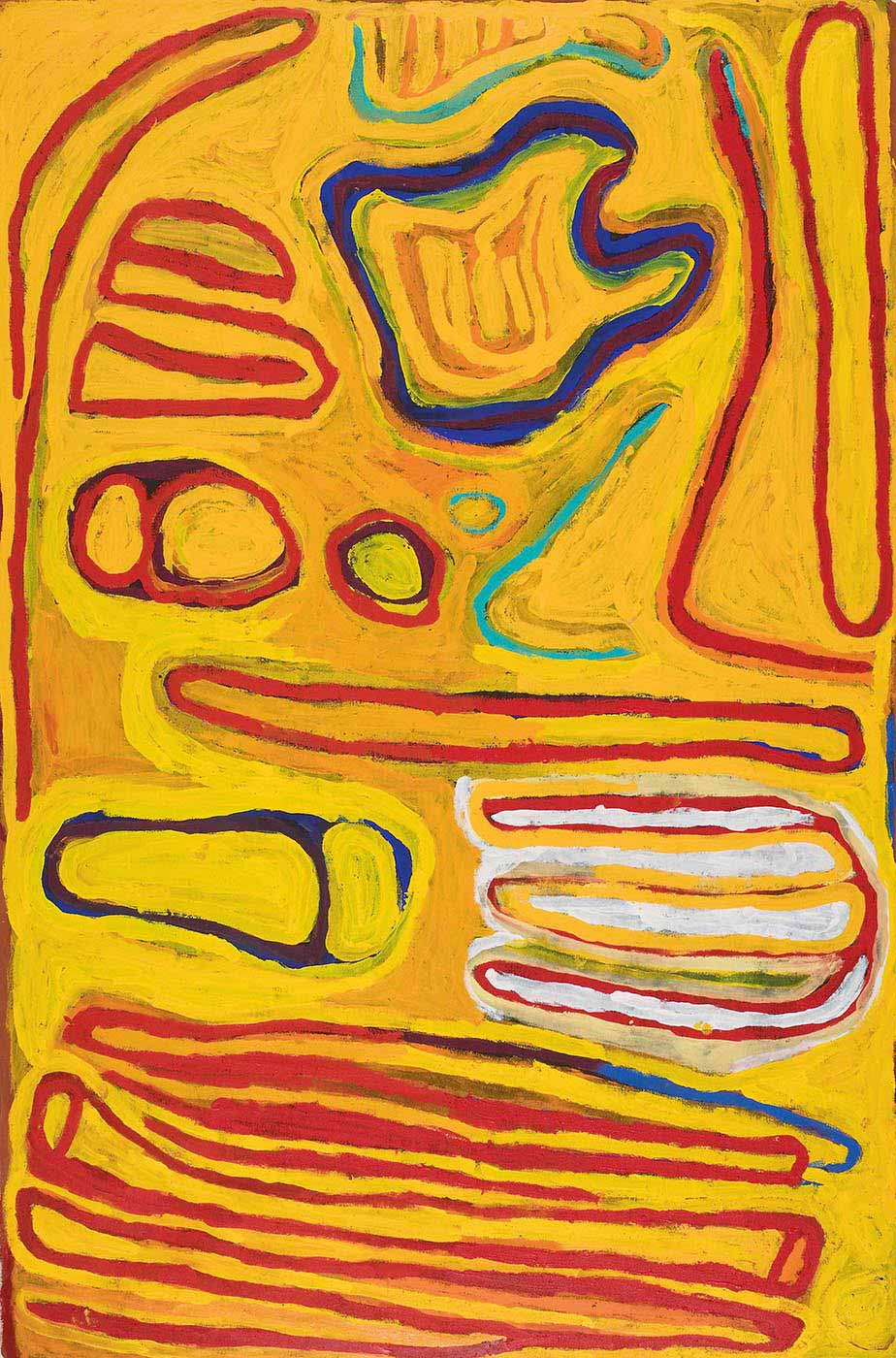 An acrylic painting on canvas of outlined motifs in bright colours on a predominantly yellow background. On one short side there is a red line motif that appears like uneven stripes with some connecting together. Next to that is a white, yellow and red three pronged motif and a blue pear shape overlaid with two yellow ovals. In the central section there is a red long thin outlined oblong, and at the other shortest end there are circles, V shapes in green and outlined shapes in red at both corners with a blue outlined shape between them. - click to view larger image
