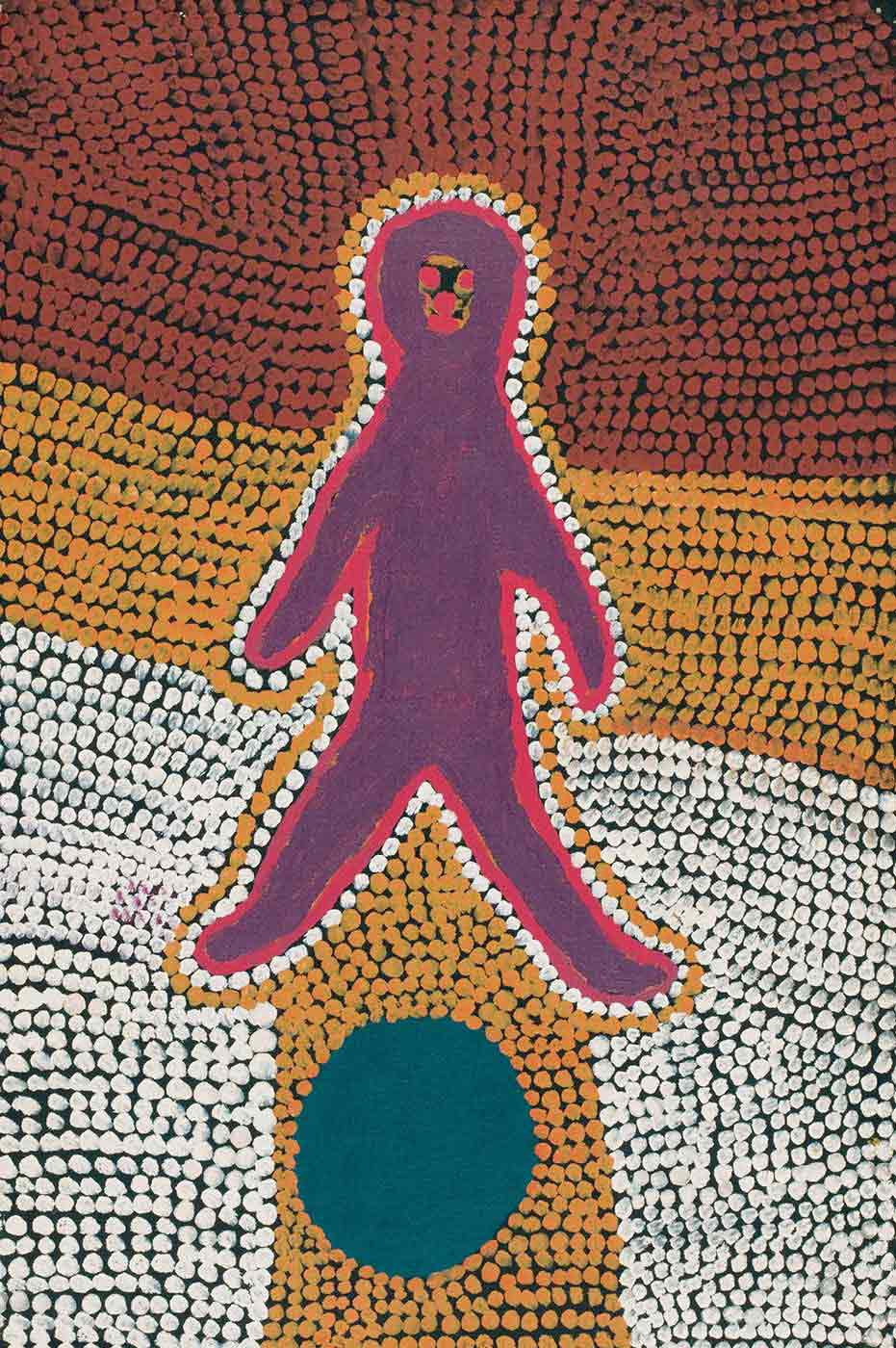 A rectangular painting on brown linen showing the silhouette of a human figure in dark purple outlined with pink then peach and orange dotted lines with pink facial features, above a dark grey-green circle. The background of the painting is black with an overlay of diagonal lines of dots in brown at the top, orange in the middle and down the centre and peach at the bottom. - click to view larger image