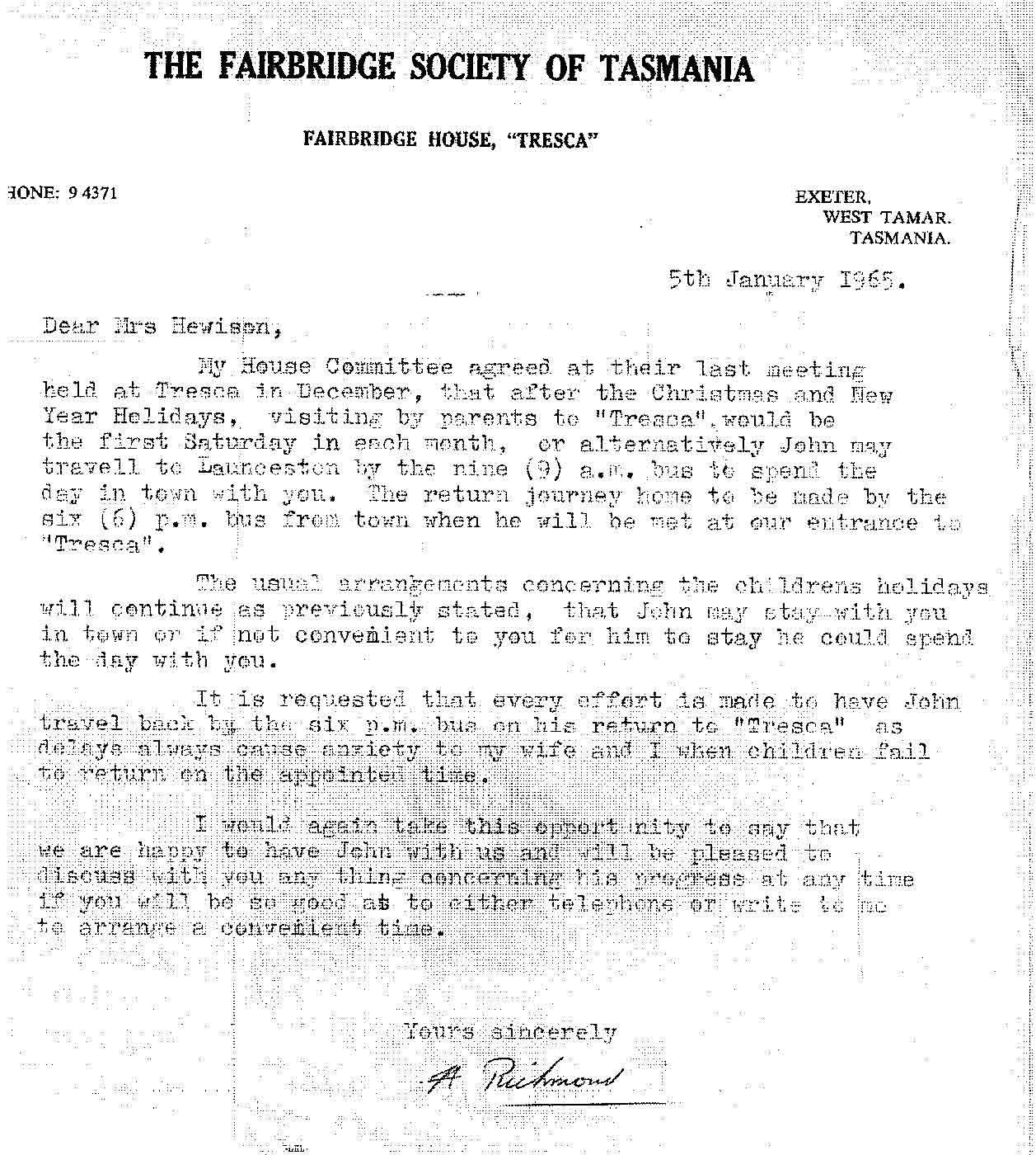 Copy of a formal letter from 'A Richmond /THE FAIRBRIDGE SOCIETY OF TASMANIA / FAIRBRIDGE HOUSE