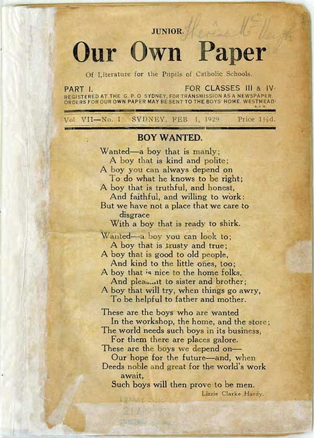 Photograph showing the front cover of a small yellowed newsletter with a Lizzie Clarke Hardy poem 'Boy Wanted' printed on the cover. Old tape marks are visible on the spine and along the bottom a name handwrittten in pencil is partially visible in the top right. - click to view larger image