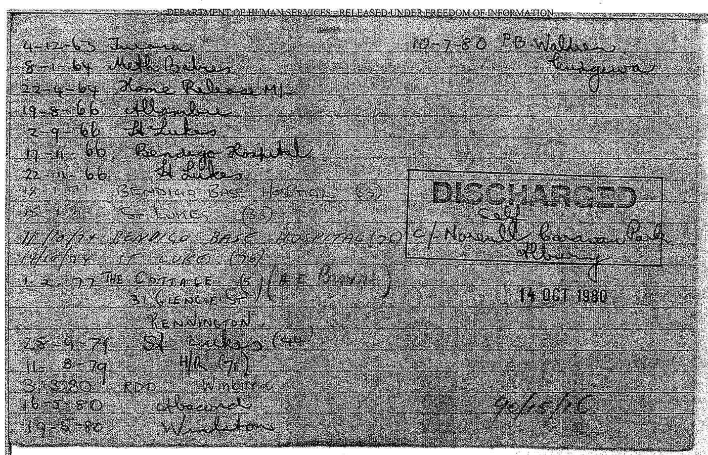 Photocopy of a lined page listing dates and names of various institutions from 1963 to 1980. 'DISCHARGED' is also printed on the page. - click to view larger image