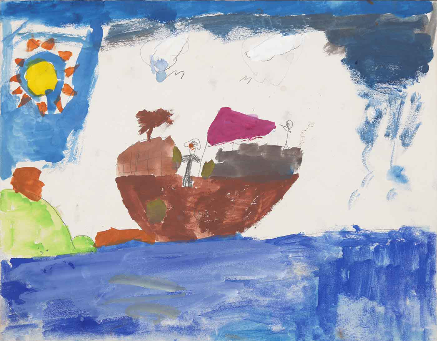 A child's painting depicting a ship at sea, approaching land.