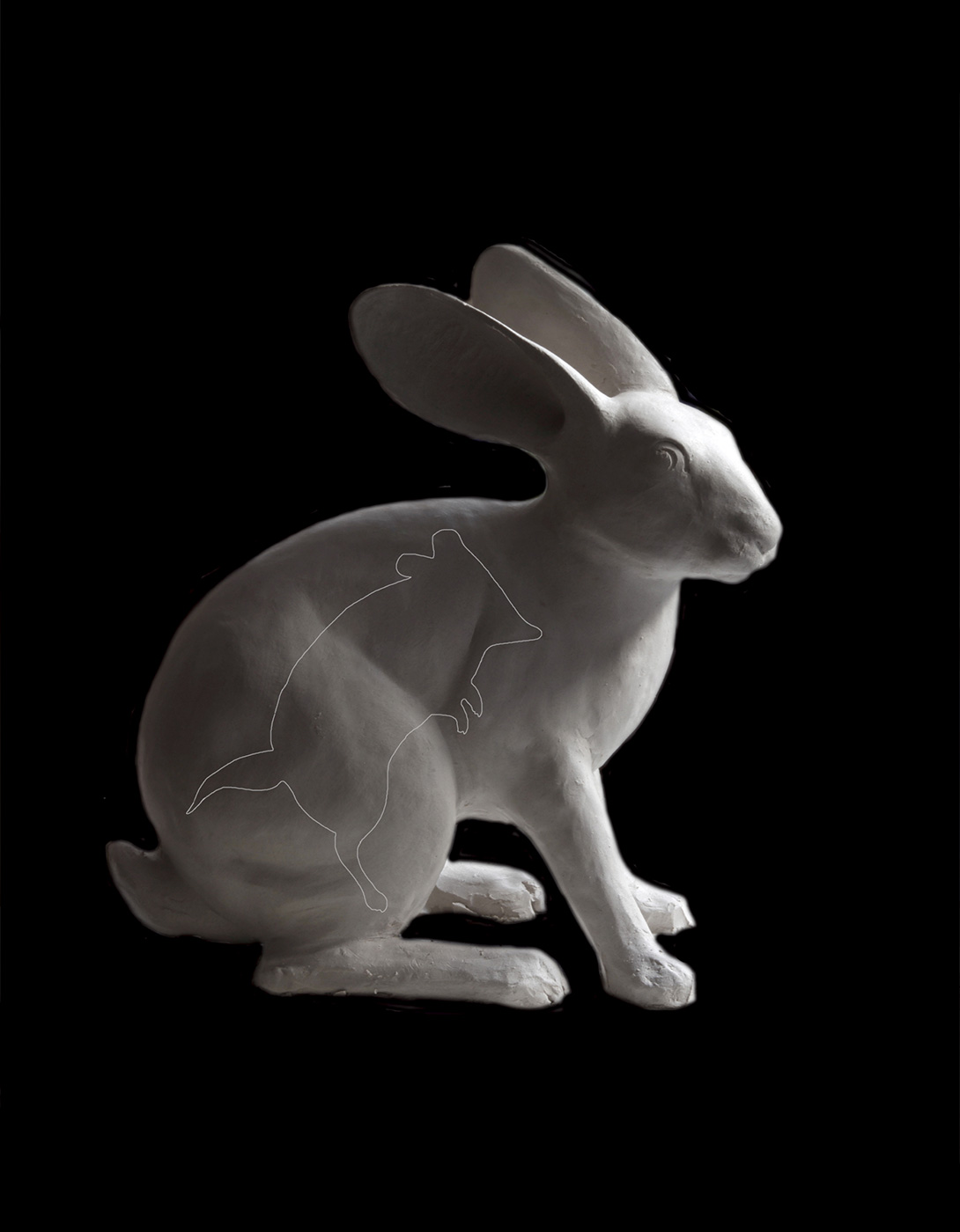 Sculpture of a rabbit which has the outline of a fat-tailed dunnart  drawn on it. - click to view larger image