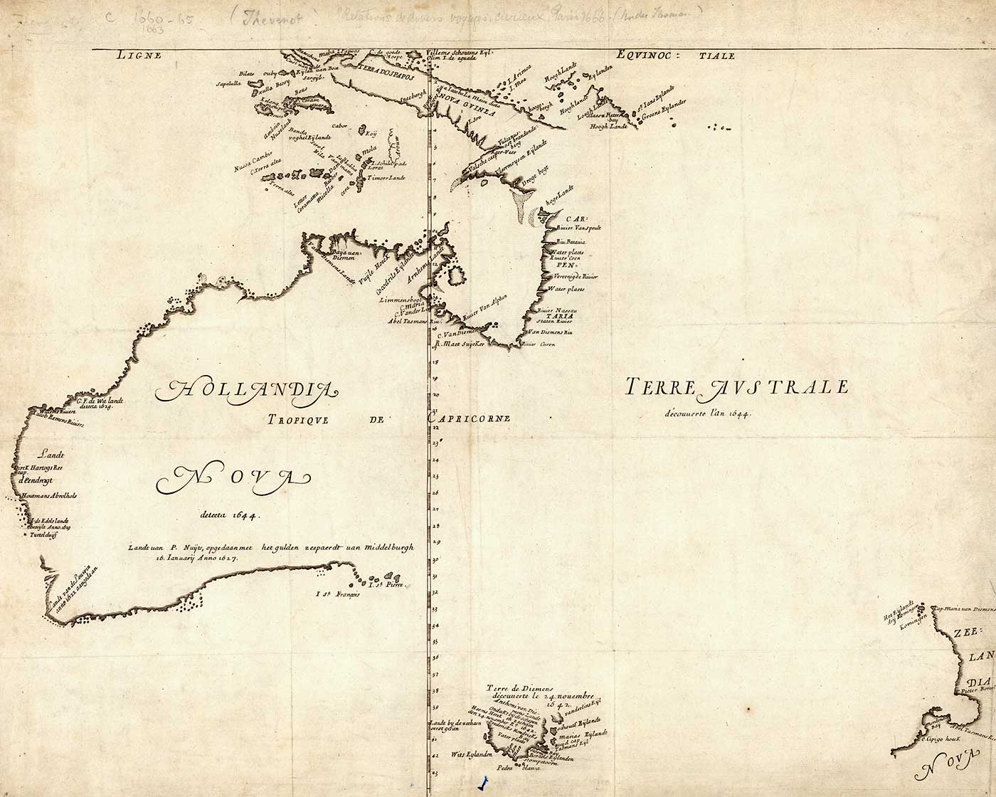 Early map showing most of what we know as Tasmania and the west coast of what we now know as Australia, marked as 'Hollandia Nova'. The eastern coast is blank, marked 'Terre Autrale'.