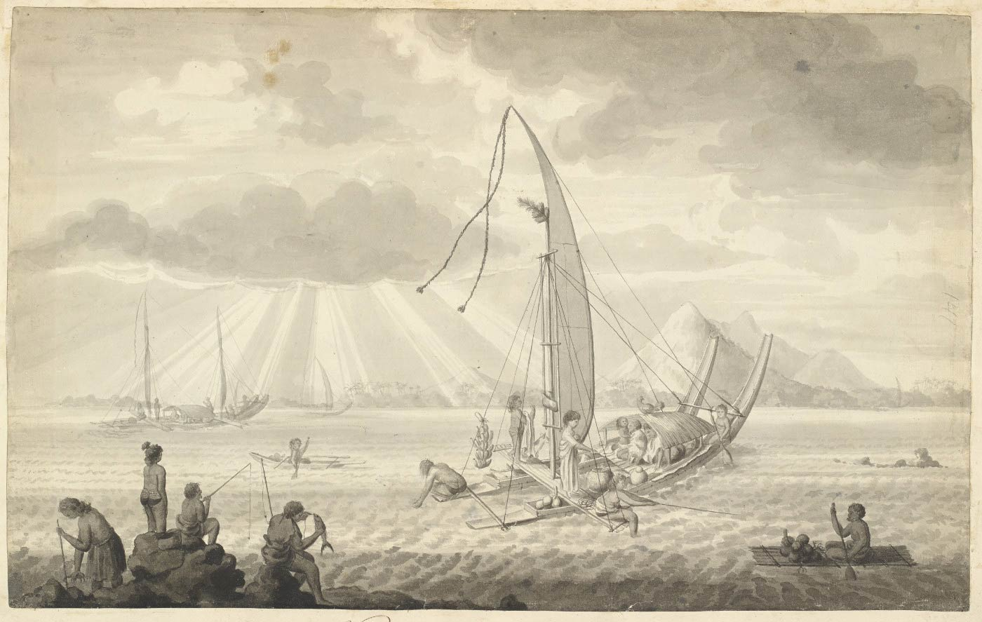 Black and white drawing of an outrigger canoe with a family seated under a shadecloth at the front and people fishing from either side. More people fish from the shore and other canoes are seen in the distance and beyond them, mountains rise under light streaming from above. - click to view larger image