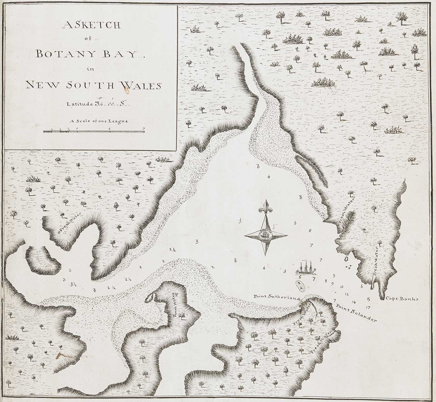 A map of Botany Bay in New South Wales which features illustrations of landmass with trees and coastal edges surrounding a bay. There is a sketch of a ship in the bay and numbers surrounding it. At the mouth of the bay is the text 'POINT SUTHERLAND, POINT SOLANDER AND CAPE BANKS'. - click to view larger image