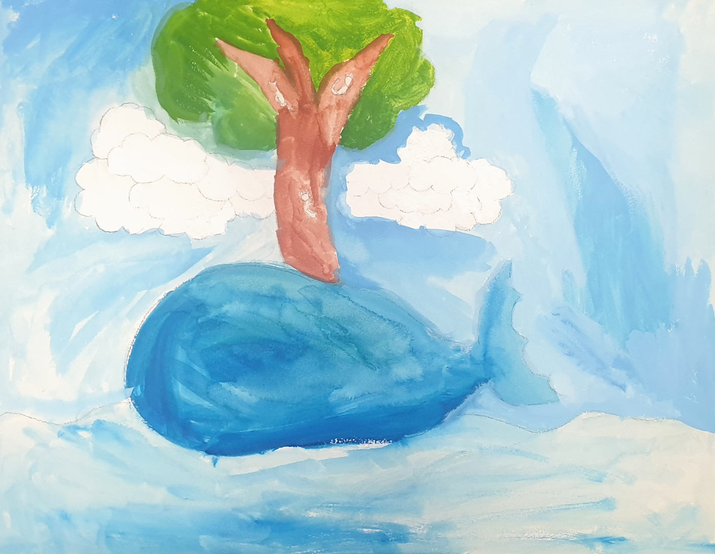 Painting showing a tree growing from a large blue form.