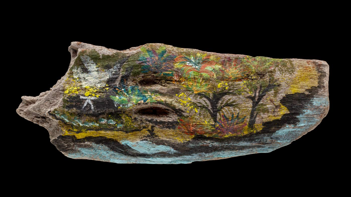 An acrylic painting on driftwood featuring a landscape consisting of water and trees. - click to view larger image