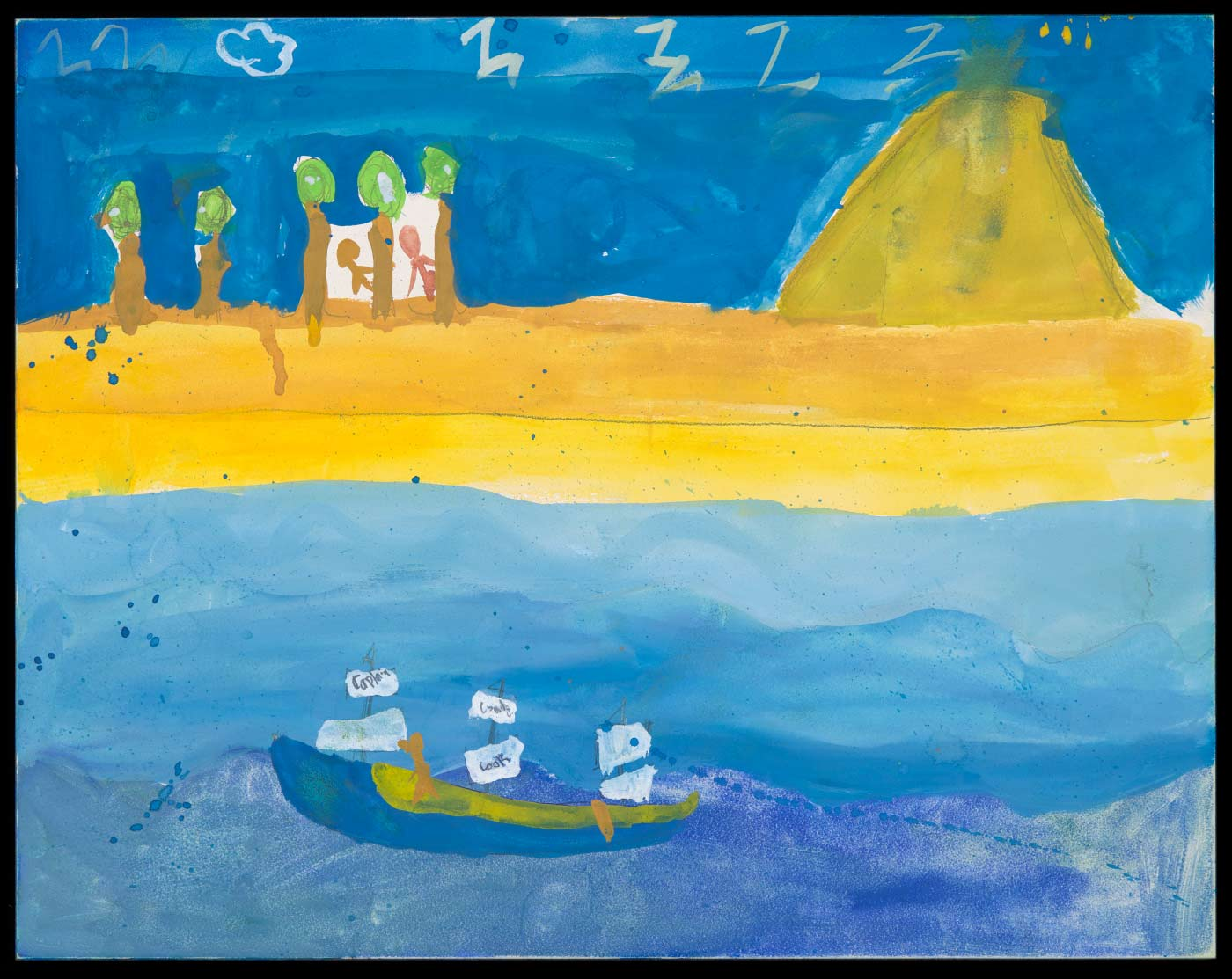 Painting on aquabord, depicting a boat and ocean on the lower half and a yellow shoreline with blue sky on the upper half. Trees and figures are painted in the upper left corner and a yellow mountain is painted in the upper right corner. - click to view larger image