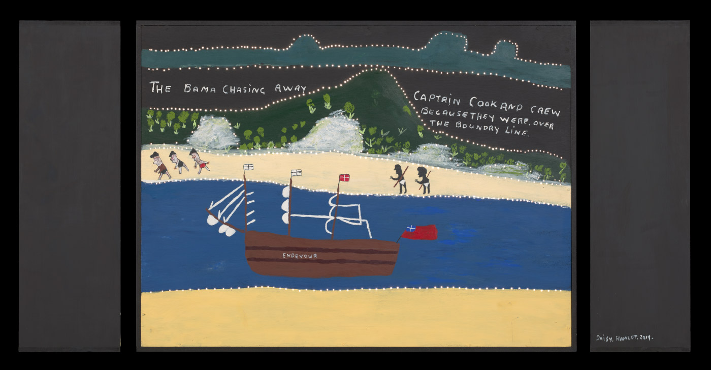 A light box made from plywood and medium density fibreboard [MDF] with an acrylic painting on the front of the box that features a shore in the foreground, a body of water with a ship on it, a beach and hills in the background. There are five people on the beach, two Aboriginals and three white men. The boat is flying three flags and has the word 'ENDEVOUR' painted on the side. Words painted in the sky read 'THE BAMA CHASING AWAY' and 'CAPTAIN COOK AND CREW / BECAUSE THEY WERE, OVER / THE BOUNDRY LINE.' There are very small holes drilled into the painting along the hill lines. - click to view larger image