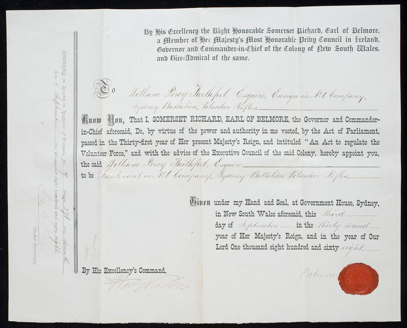William Percy Faithfull's Certificate of Commission as Lieutenant in No. 6 Company Battalion of the Volunteer Rifles.