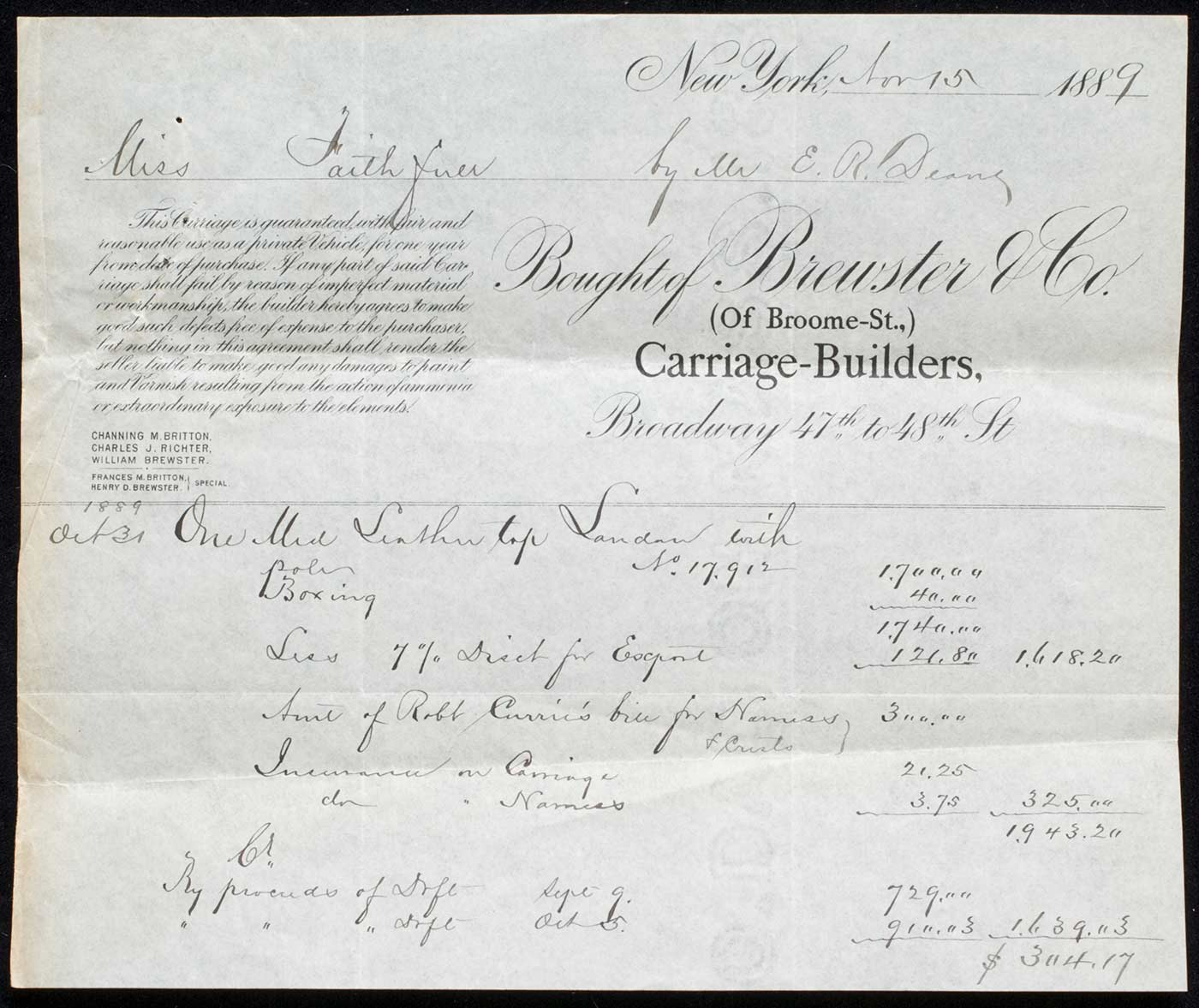 Receipt on letterhead of Brewster & Co. carriage builders completed in ink.