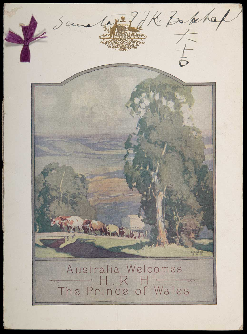 A pamphlet with a rural scene with cows on the cover. The inside leaf is dated 27th May 1920 and has a menu. - click to view larger image