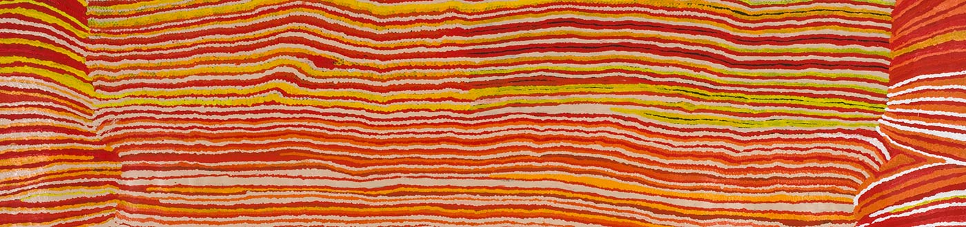 A long horizontally striped painting on canvas in red, orange, yellow white and beige wavy lines. At both ends are sections of horizontal stripes that are offset and at different angles from the central section. The right side has more white and dark red stripes while the left side has more yellow stripes.