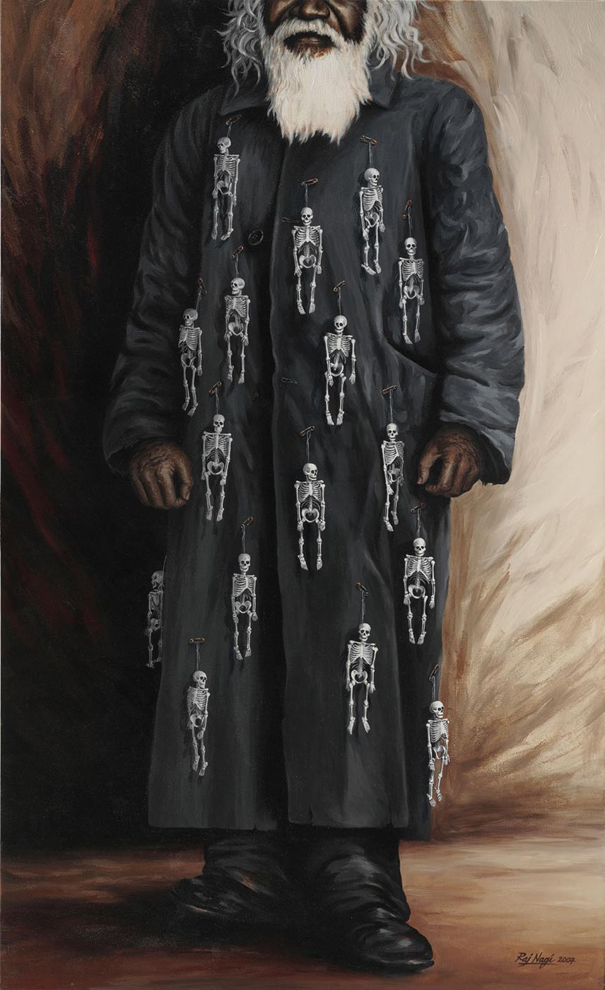 Oil painting of a man wearing a dark long coat with multiple skeletons hanging from safety pins.