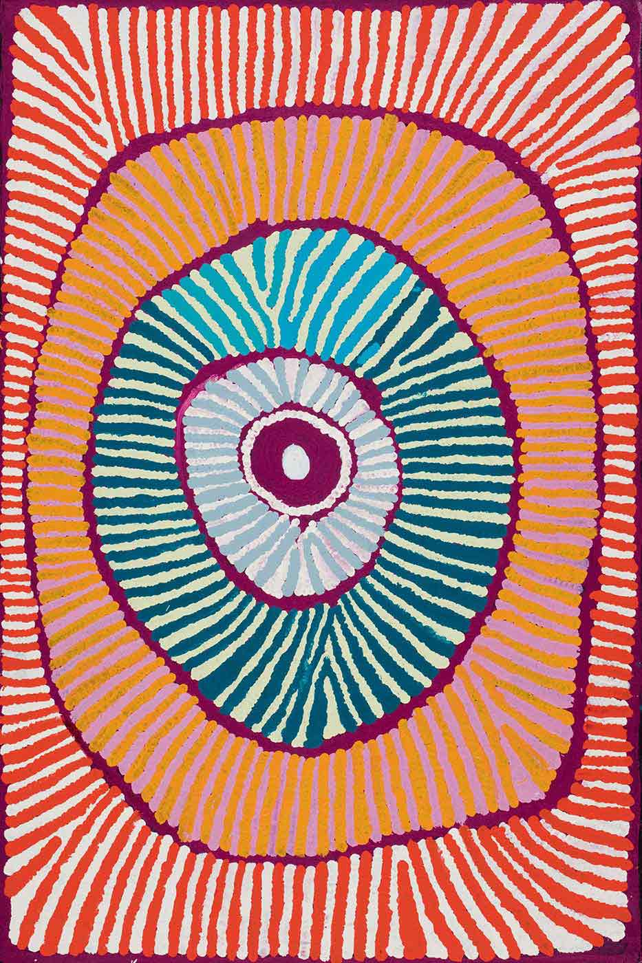 A painting on brown linen of a concentric circle with radiating lines within each ring, on a background of purple. The colours include grey with pink, cream with dark green, yellow with purple-pink and orange with cream.