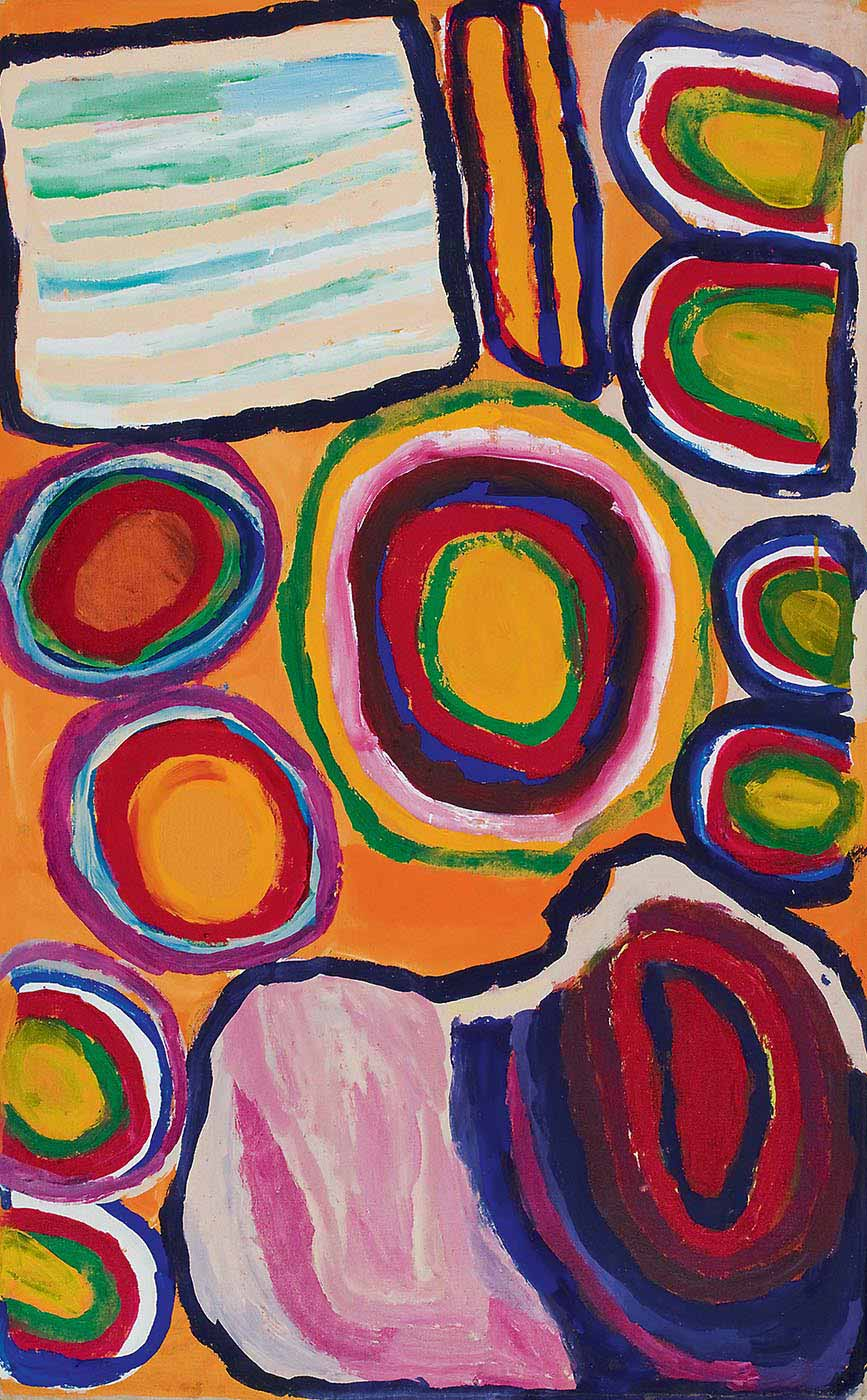 A painting on canvas with beige and mint green horizontal stripes in a navy blue square outline in the top left corner. The centre has a concentric circle in yellow, green, red, blue, brown and pink, with a two lines of four smaller concentric circles flanking it. The line of circles to the left extends from the centre down to the bottom corner, while the right side starts from the side centre and extends to the top right corner. At the top between the square shape and the concentric circles is a rectangular shape in yellow outlined in blue and red with a blue line down the middle. In the bottom right section of the painting is a shape with stripes and concentric rings of pinks, blues and purples with a black outline. - click to view larger image