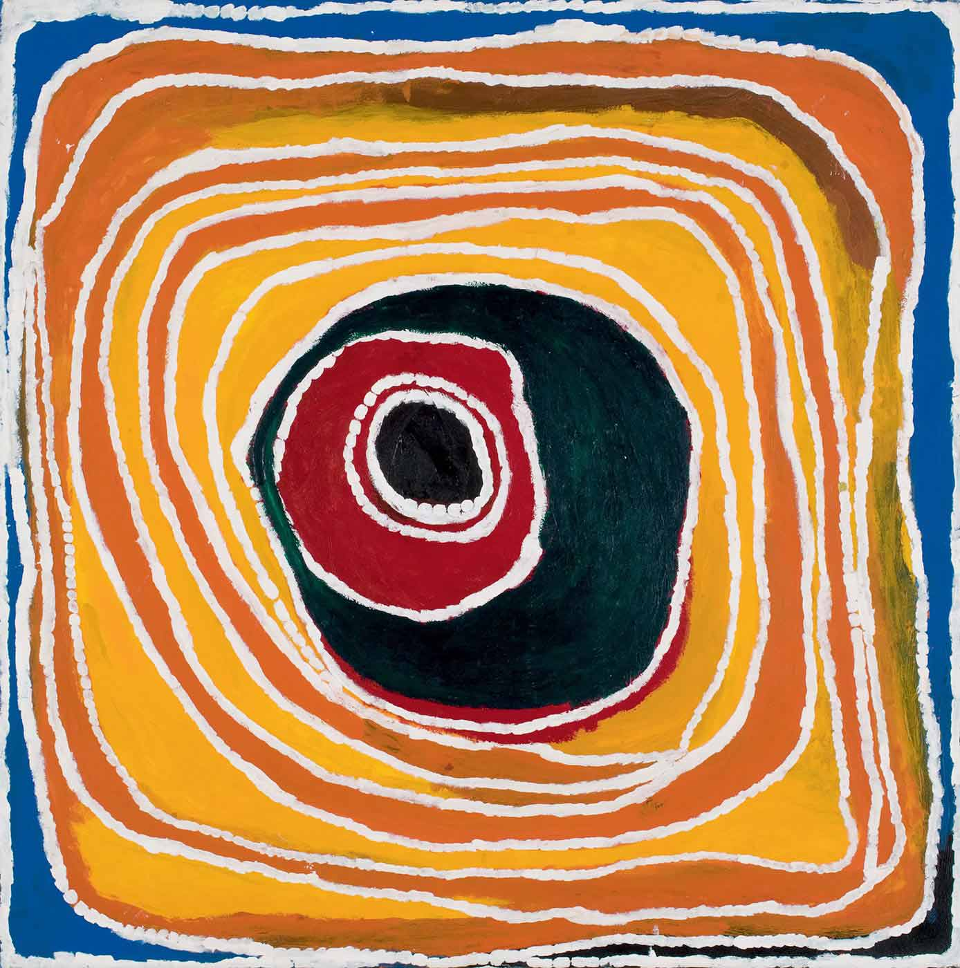 A square painting on canvas in mainly primary colours showing an uneven concentric circle which becomes a round edged square in the outer rings. There are thin white lines between each ring, and colours start with black in the centre then, red, dark green, yellow orange and blue at the edge. - click to view larger image