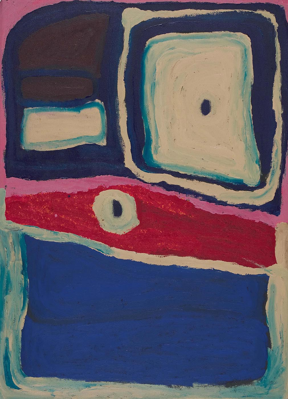 A multi-coloured acrylic painting on canvas with a beige and blue concentric rectangular shape in the top right corner with a small blue disc in the centre. At the top left are two dark blue and off white shapes in a vertical row. All of these are bordered with pink. Beneath that is a horizontal section in red with a disc of beige and black. The lower section of the canvas is filled with dark blue and bordered with a beige-blue colour - click to view larger image
