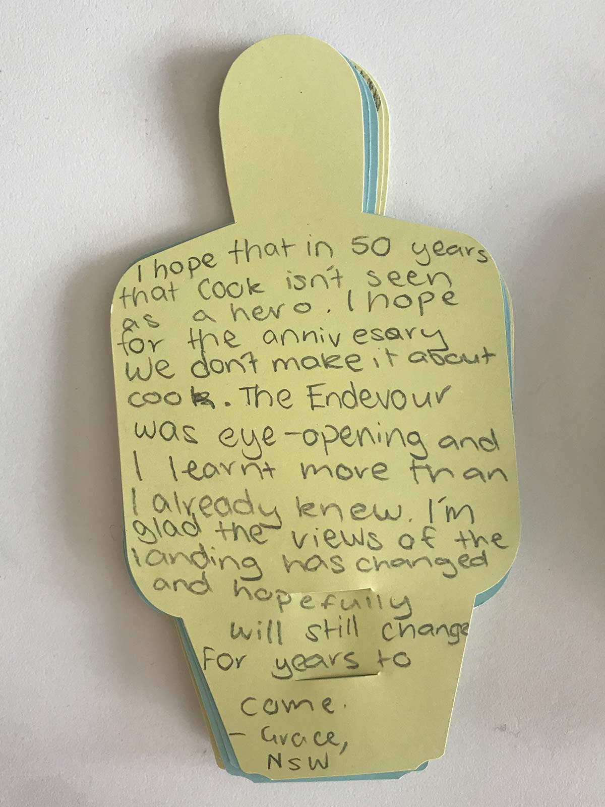Paper figure with hand written text. - click to view larger image