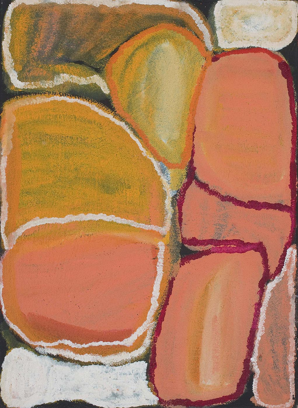 An orange toned painting on brown linen of boulder-like shapes on a black background. The left of the painting has an oval shape in yellow-orange and pink-orange with a white edge and horizontal line across the middle. Underneath this shape is a white filled shape while above it is a translucent shape in yellow-pink with a white edge. At the centre top is a rounded triangle shape of yellow-white with an orange edge. On the right of the painting is a stack of three orange-pink shapes with burgundy outlines, with a yellow-white shape above and a translucent orange shape in the bottom right corner. - click to view larger image