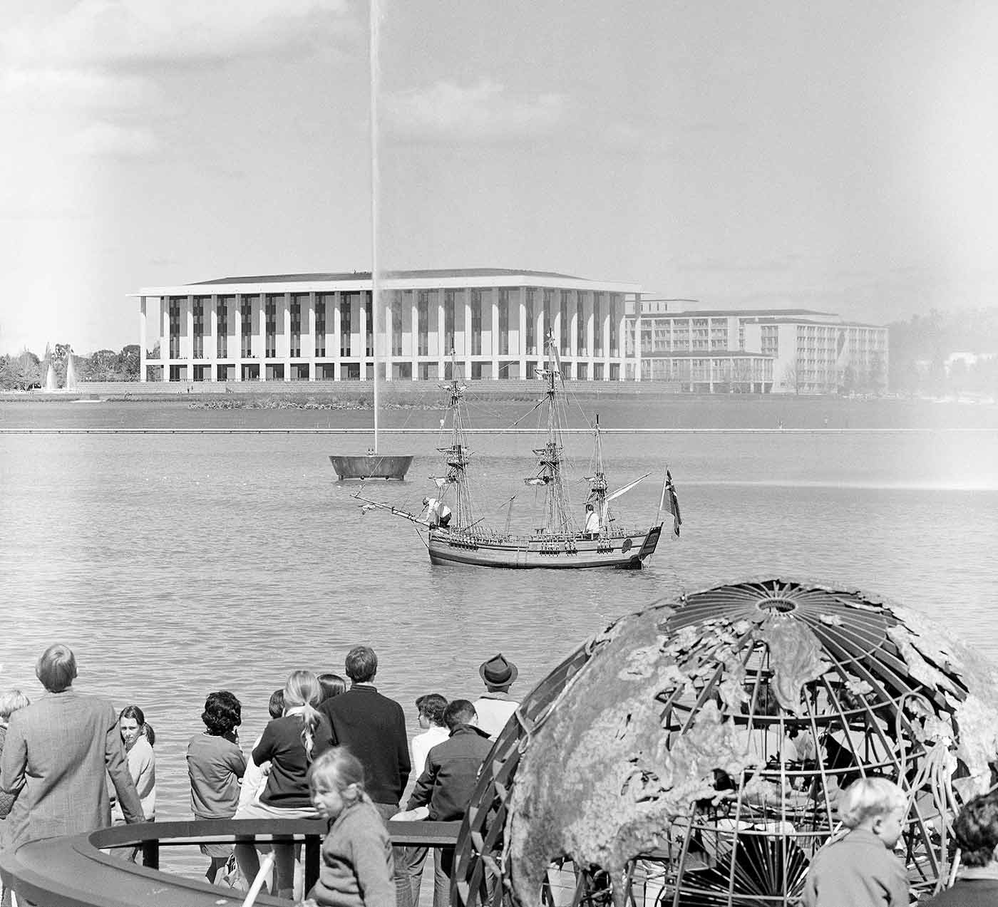 Historical - Model of Captain Cook's barque, the 'Endeavour', sailing on Lake Burley Griffin. 1970. - click to view larger image