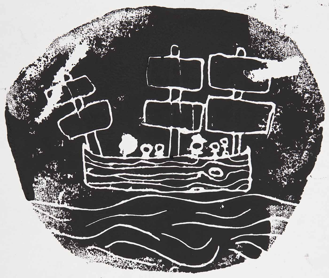 A circular black print on white cardboard featuring stick figures on a ship in the sea. Across the bottom the print is title, sigend and dated, '