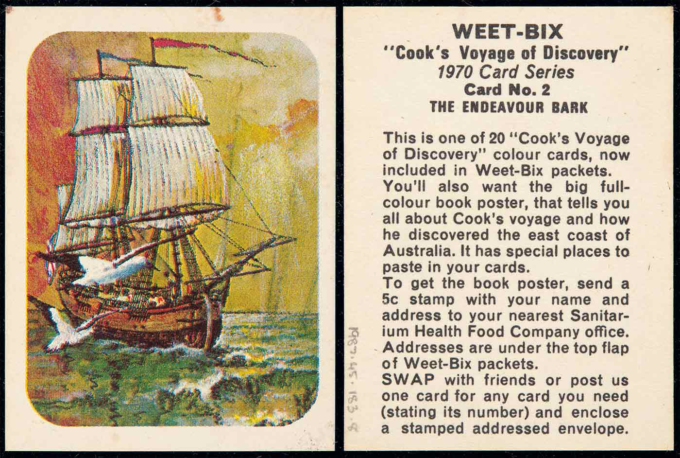 A swap card collected from a Weetbix cereal packet which features a coloured illustration of a sailing ship. Text on the reverse side of the card reads 'WEET-BIX /