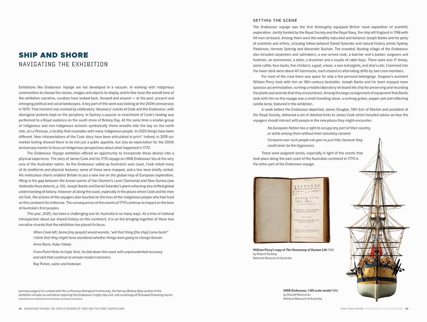 Sample page for the Endeavour Voyages: The Untold Stories of Cook and the First Australians catalogue. The page features the title 'SHIP AND SHORE/NAVIGATING THE EXHIBITION', some body text, and images of William Perry's copy of The Oeconomy of Human Life and a model of the HMB Endeavour. - click to view larger image