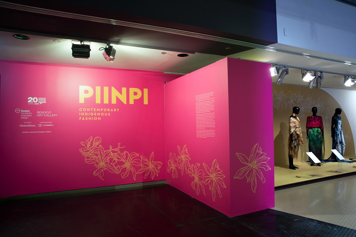 Entry to the Piinpi: Contemporary Indigenous Fashion exhibition. - click to view larger image
