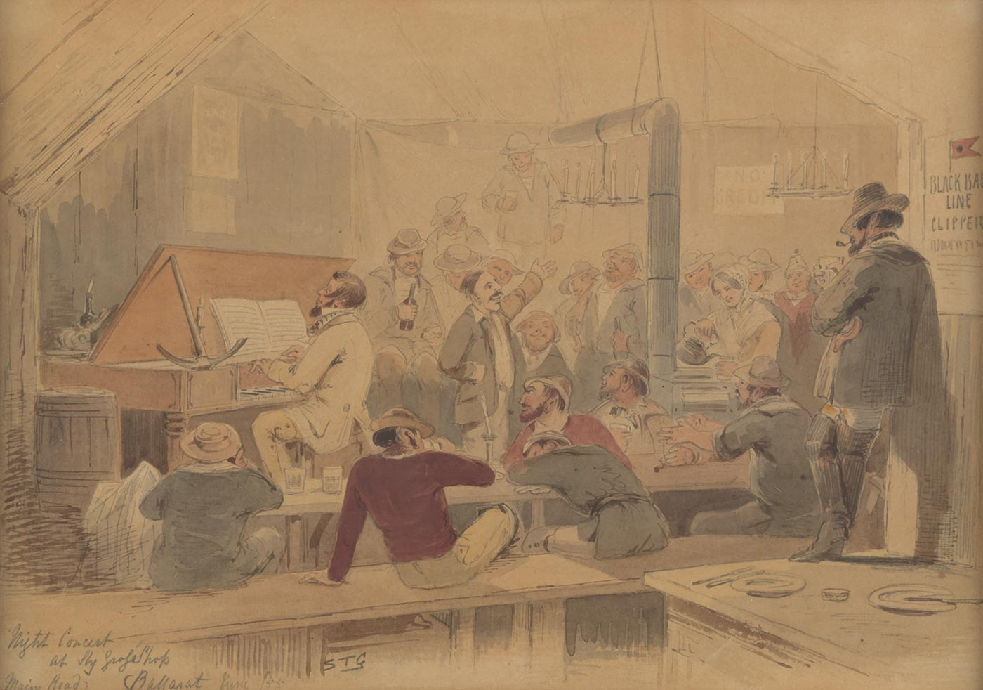 A watercolour painting on cream coloured paper painted in blues, reds, browns and greys depicting a scene inside a bar. The scene includes a man playing a piano and a crowd of men sitting on or standing around benches and tables. There is also a woman serving a drink out of a kettle. Handwritten in pencil in the bottom left hand corner is 'Night Concert / at Sly Grog Shop / (Main Road) Ballarat June /55' and 'STG'. - click to view larger image