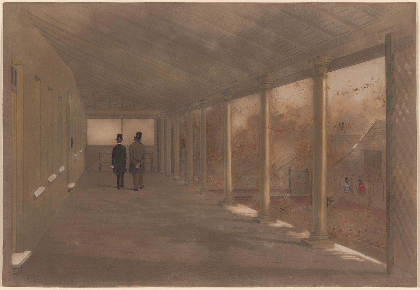 A watercolour painting in greys, browns and white with small sections of red and blue depicting a verandah with pillars on one side a wall on the other. Walking along the verandah are two people wearing top hats. Handwritten in pencil in the bottom left hand corner is 'S.T.G.'. - click to view larger image
